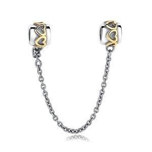 Talisman din argint cu Inimi Aurii si Lantisor pentru Siguranta