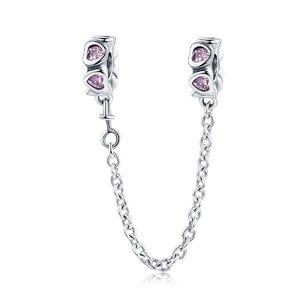 Talisman din argint cu Inimi Roz si Lantisor pentru Siguranta