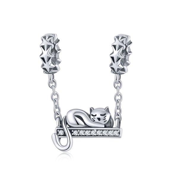 Talisman din argint cu Lantisor si Pisicuta