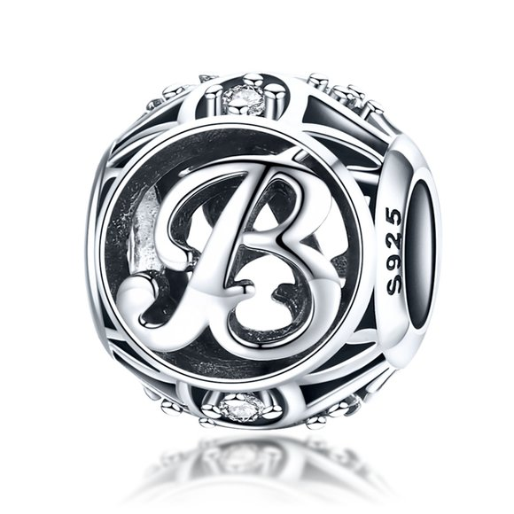 Talisman din argint cu Litera B si cristale