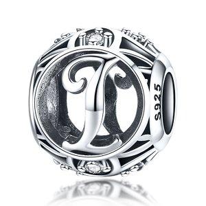 Talisman din argint cu Litera I si cristale