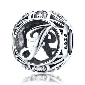 Talisman din argint cu Litera J si Cristale