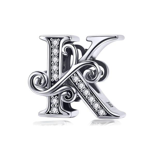 Talisman din argint cu Litera K din Poveste