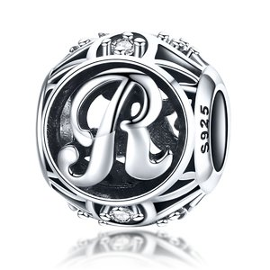 Talisman din argint cu Litera R si cristale
