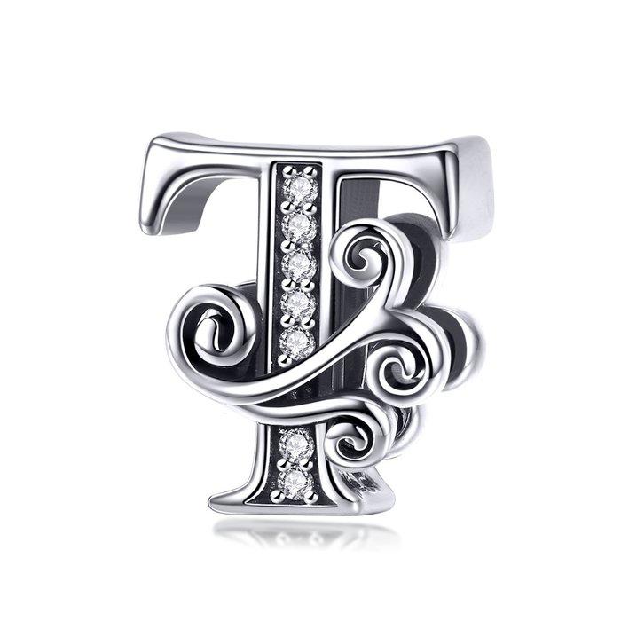 Talisman din argint cu Litera T din Poveste poza 2021