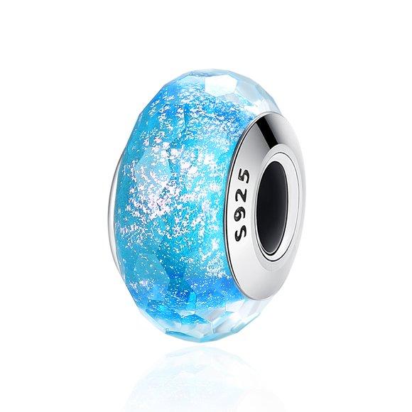 Talisman din argint cu sticla Blue Ice