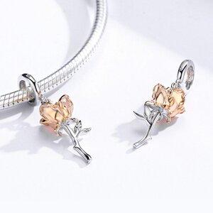 Talisman din argint cu Trandafir Rose Gold