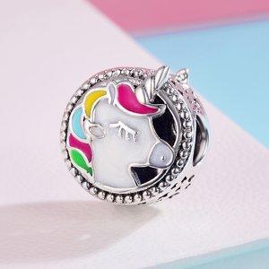 Talisman din argint cu Unicorn Colorat