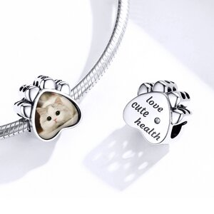 Talisman din argint Custom Photo Paw Charm