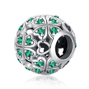 Talisman din argint Emerald Look Clover