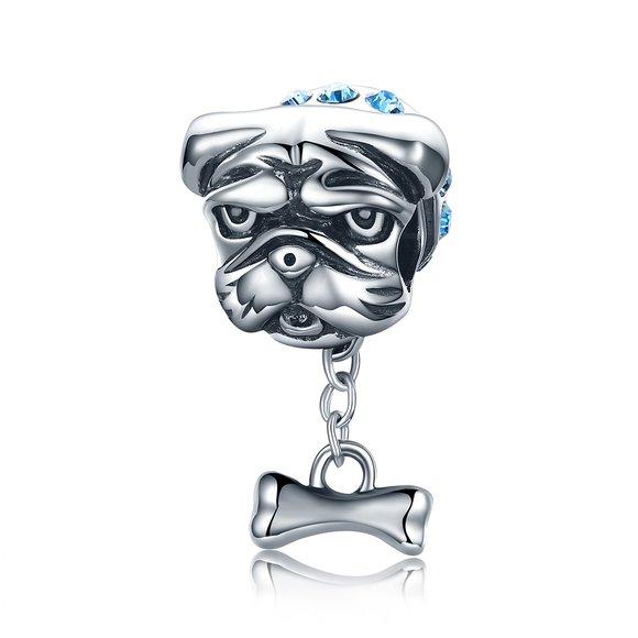 Talisman din argint French  Bulldog Blue