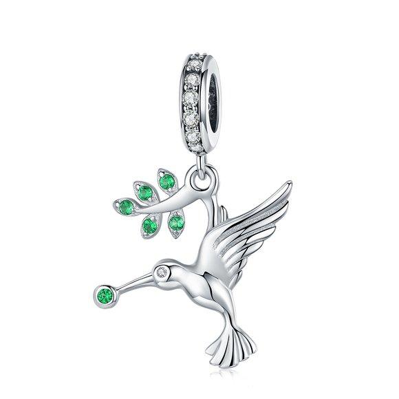 Talisman din argint Green Hummingbird