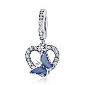 Talisman din argint Heart Blue Butterfly