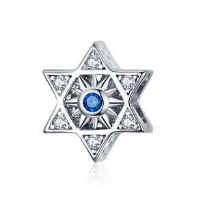 Talisman din argint Hexagram Blue Star
