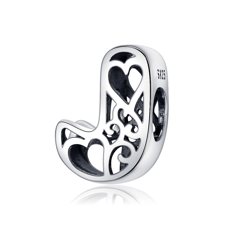 Talisman din argint In Love with Letter J