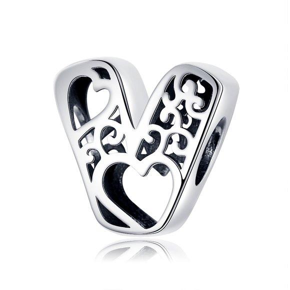 Talisman din argint In Love with Letter V