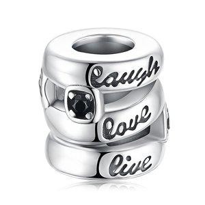 Talisman din argint Laugh, Love, Live