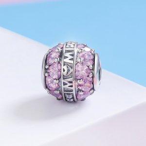Talisman din argint Mom's Pink Hearts
