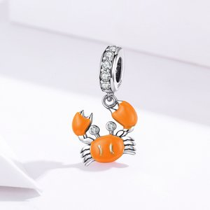 Talisman din argint Orange Little Crab