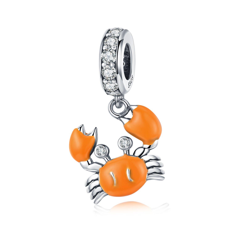 Talisman din argint Orange Little Crab