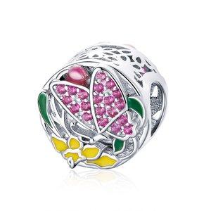 Talisman din argint Pink Butterfly