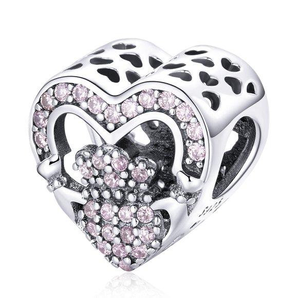 Talisman din argint Pink Ryal Heart