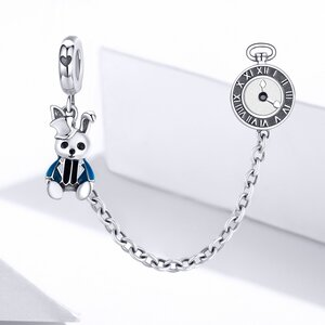 Talisman din argint Rabbit Clock