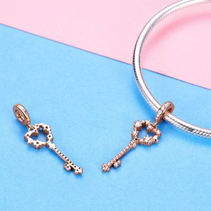 Talisman din argint Rose Gold Heart Key