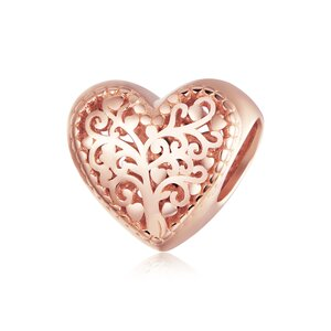 Talisman din argint Rose Gold Heart of Nature