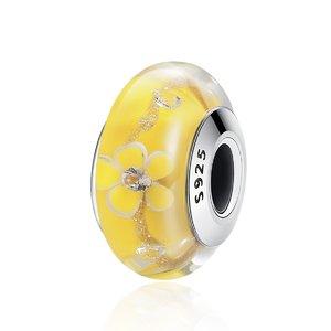 Talisman din argint si sticla Yellow Flowers