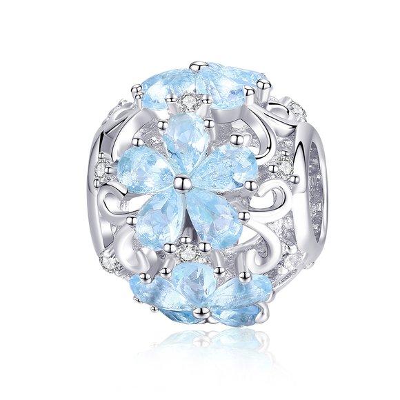 Talisman din argint Snow Blue Flower
