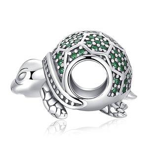 Talisman din argint Sparkling Green Turtle
