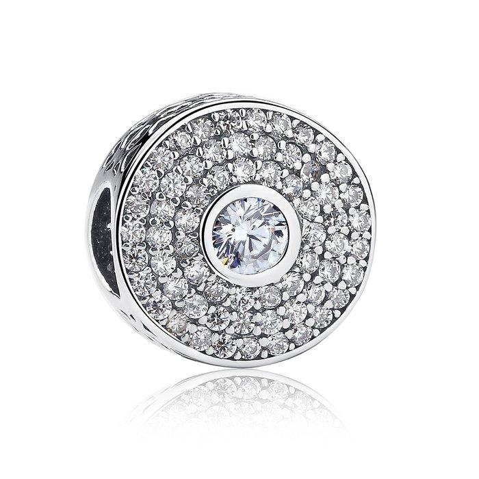 Talisman din argint stralucitor cu Labirint si Cristale Transparente poza 2021