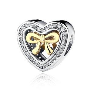Talisman din argint stralucitor Inima cu Fundita Aurie