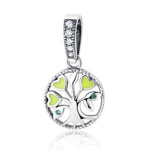 Talisman din argint sub forma de Pandantiv cu Copac si Frunze Verzi