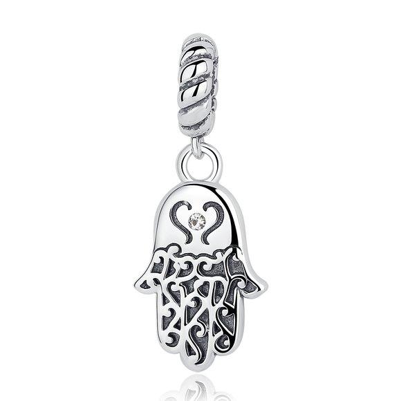 Talisman din argint sub forma de Pandantiv cu Hamsa