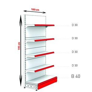 RAFTURI METAL CAPAT GONDOLA  Înălțime-195, Lățime-100 cm, Baza:40