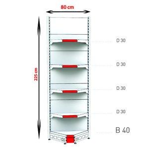 RAFTURI METAL RM-02 COLT INTERIOR Înălțime-225 cm Baza-40