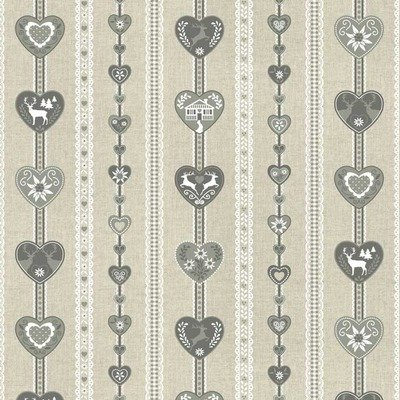 Canvas Fabric - Alps Hearts Natural