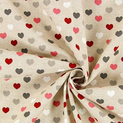 Canvas Linen Look Fabric - Hearts Natural Pink