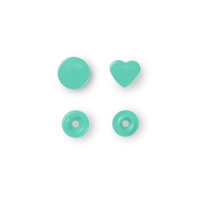 Color Snaps - Mint - Heart- 30 pcs