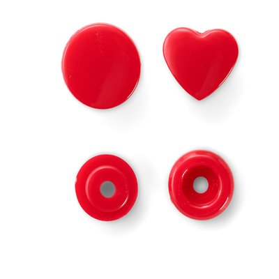 Color Snaps - Heart - red - 30 pcs