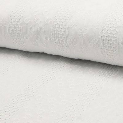 Cotton Embroidery Floral Stripe White