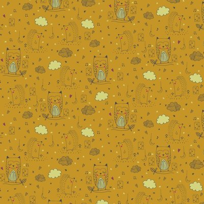 Cotton Glow in the Dark - Owls Ochre