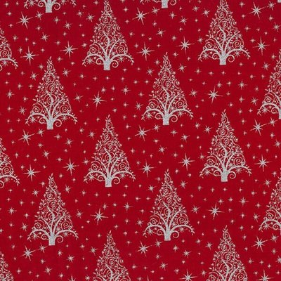 Cotton print - Christmas Trees Red-Silver