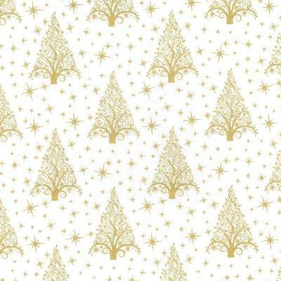Cotton print - Christmas Trees White-Gold