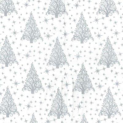 Cotton print - Christmas Trees White-Silver
