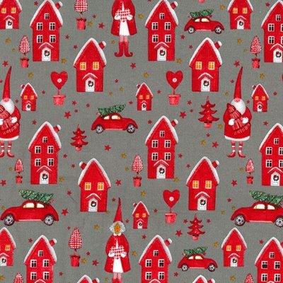 Cotton print - Elf Town Grey