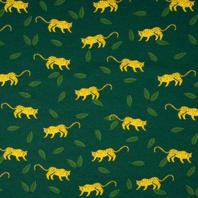 Cotton Printed Jersey - Tiger Green