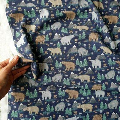 Digital print cotton -  Forest Bear Blue